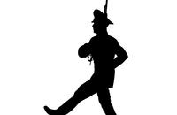 Black silhouette soldier is marching with arms on
